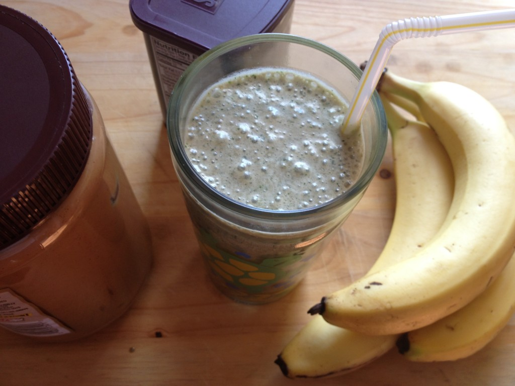 Chocolate Peanut Butter Banana Green Smoothie